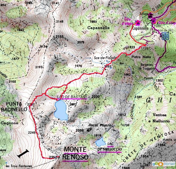 carte randonnée du monté rénoso et le lac de bastani