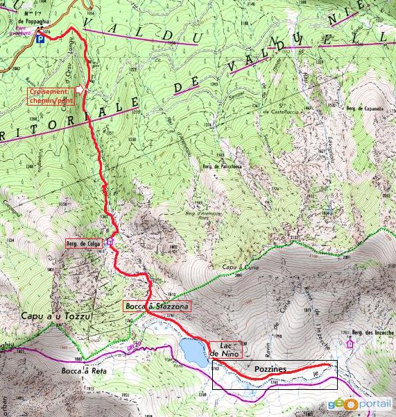 carte randonnée du lac de nino