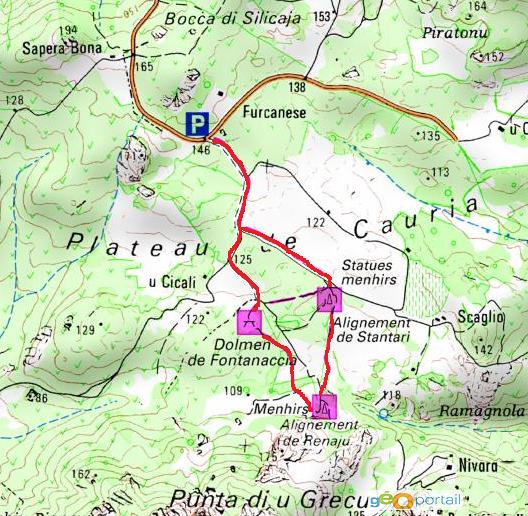 carte randonnée du plateau de cauria