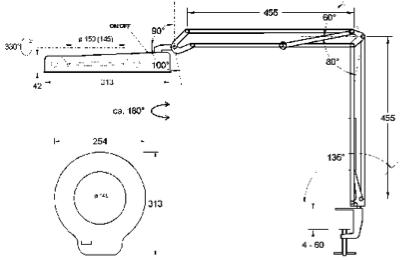 Technische Zeichnung LED Lupenleuchte RLL Basic II