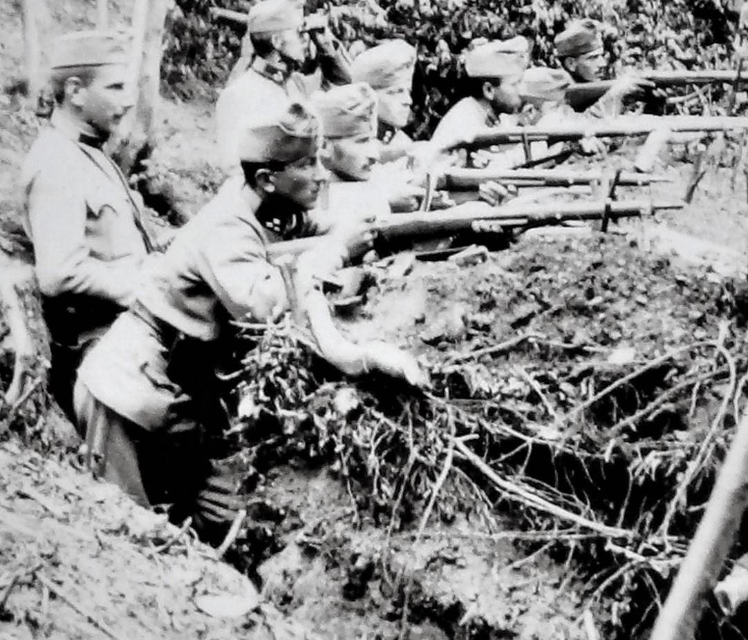 Sulkowski's Fussabteilung in Erwartung eines russ. Übergangsversuches am Dnjestr, 10./8. 1915.