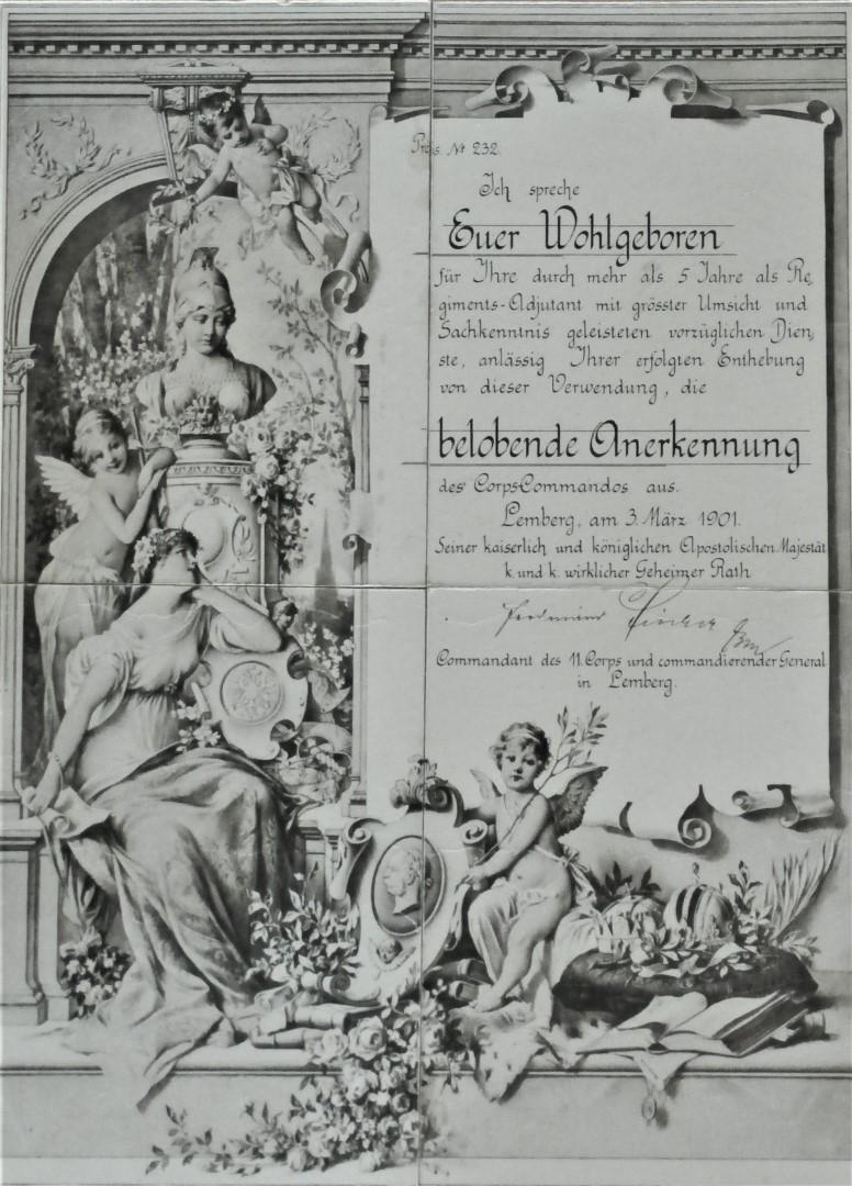 Belobigung 1901 Lemberg