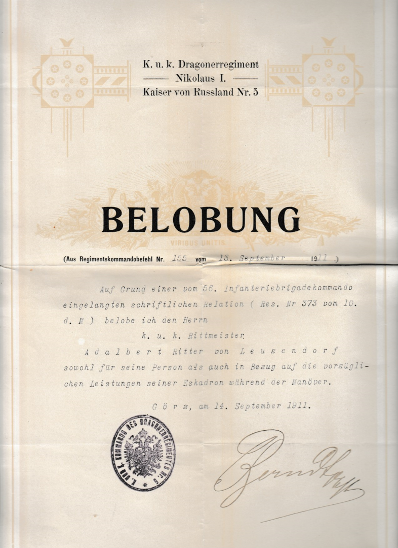 Belobung 1911 Görz