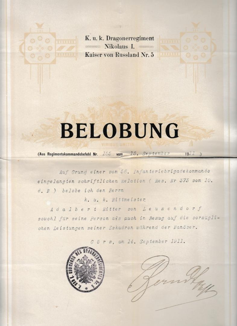 Belobung 1911 Görz