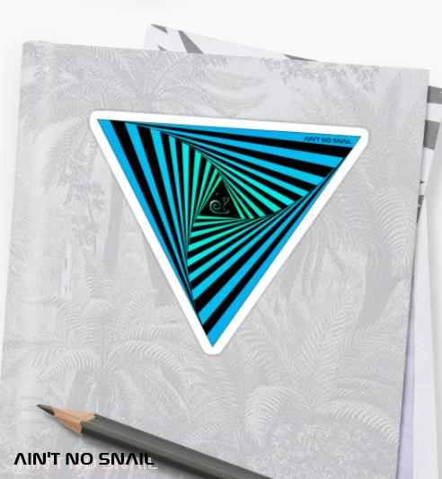 Ain't no snail Redbubble Sticker Dreieck Illusion op art, psychedelic
