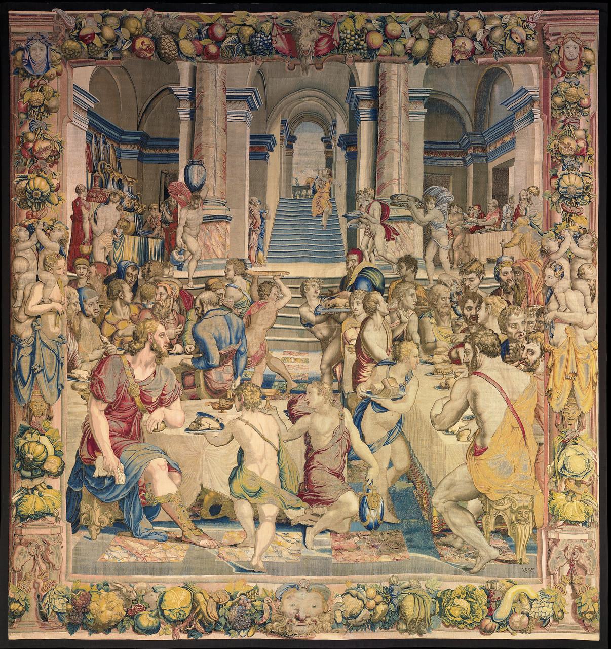 Convito di Giuseppe con i fratelli, 1550-1553 disegno e cartone di Agnolo Bronzino atelier di Nicolas Karcher Roma, Presidenza della Repubblica