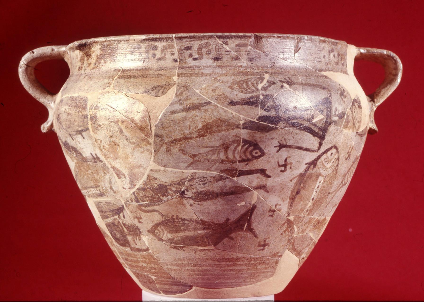Cratere tardo-geometrico, c.d. Cratere del Naufragio Argilla, 725-700 a.C. Museo Archeologico di Pithecusae, Villa arbusto, Lacco Ameno