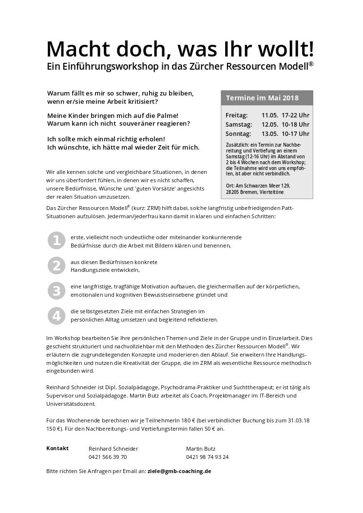 Einführungsworkshop mit dem Zürcher Ressourcen Modell vom 11. - 13. Mai 2018 in Bremen, Selbstmanagement, Ziele erreichen, persönliche Entwicklung