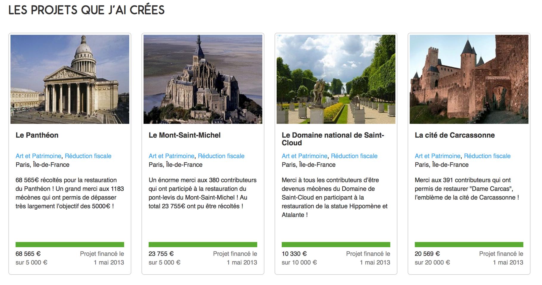 4处建筑遗产维护的众筹贴,4个项目都成功完成预计的筹集额度,特别是先贤祠 (Le Panthéon) 的筹款超出了预期十几倍。