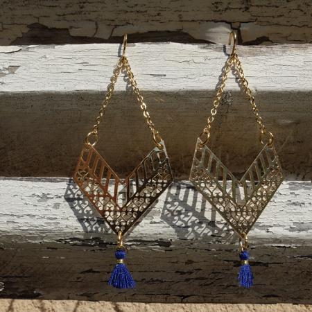 Galinou création a créé pour vous des boucles d'oreilles fantaisie en pierre et verre de Murano mode.