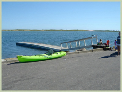 Katama Bay launch boat or kayak where you can go over to Norton Point.