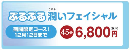 ぷるぷる潤いフェイシャル 45分 6,800円
