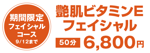 艶肌ビタミンEフェイシャル 50分 6,800円
