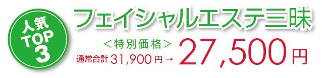 フェイシャルエステ三昧 特別価格 27,500円