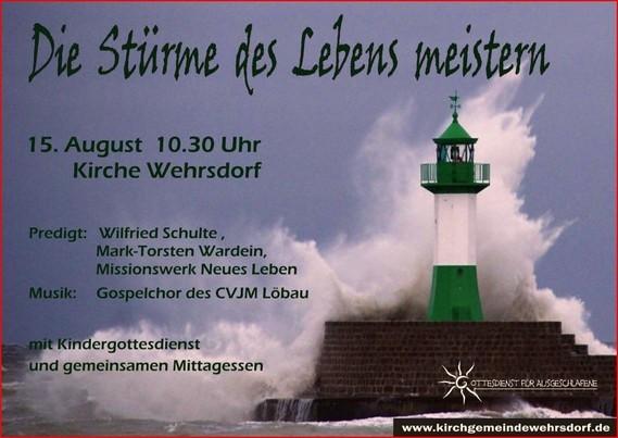 Einladung zum Gottesdienst für Ausgeschlafene in Wehrsdorf