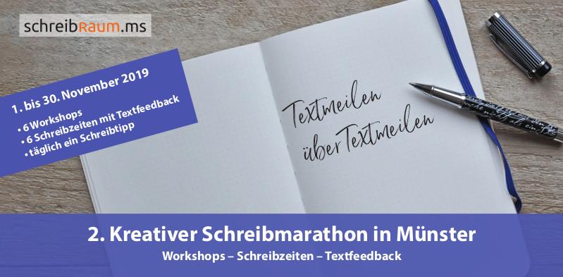 Liegt bald wieder überall in Münster und darüber hinaus aus: der Flyer zum Schreibmarathon.