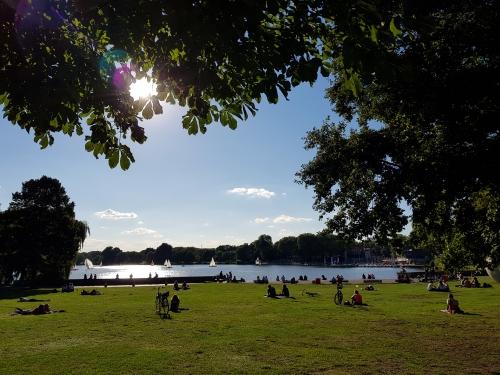 Blick auf den Aasee in Münster: zum Schreiben ein toller Ort.