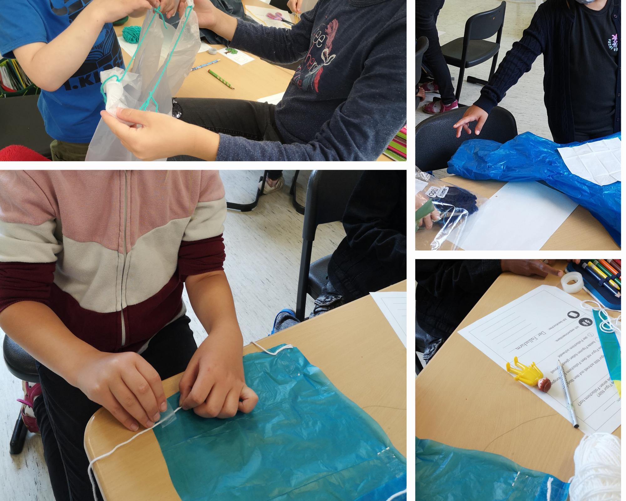 Wir bauen Fallschirme und entdecken dabei Eigenschaften von Luft.
