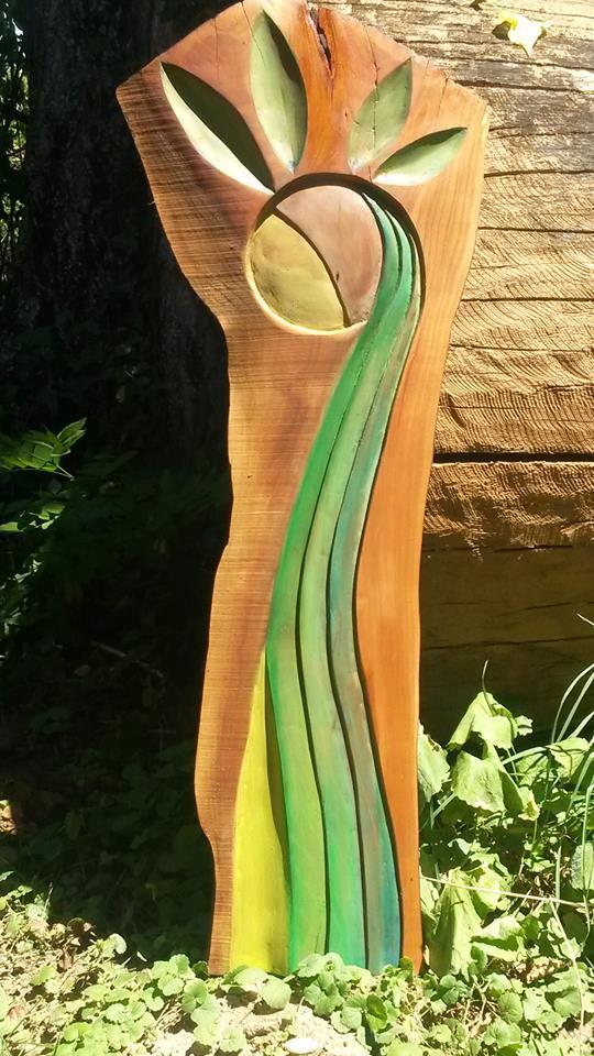 Schwester der Sonne (Kirschbaum mit Acryl)