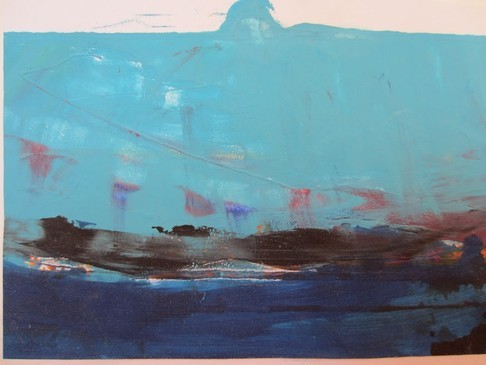 Fischerboot bei Sturm, Acryl auf Karton