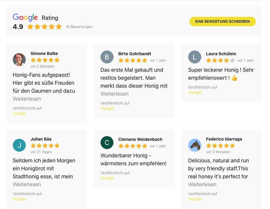 Hamburger Stadthonig, Hamburger-Stadthonig, Honig, Google-Bewertung, Stadthonig.
