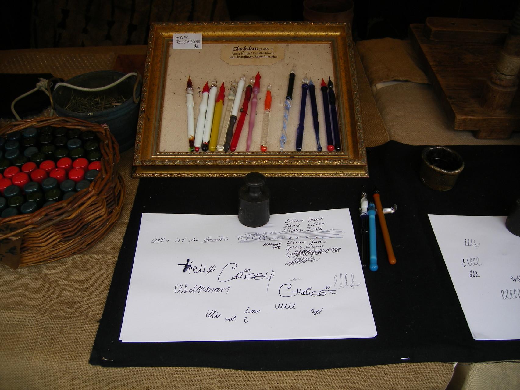 Schreiberei bei mir am Stand Buchrose Glasfedern
