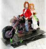 Seidenzucker Motorrad mit Hochzeitspaar