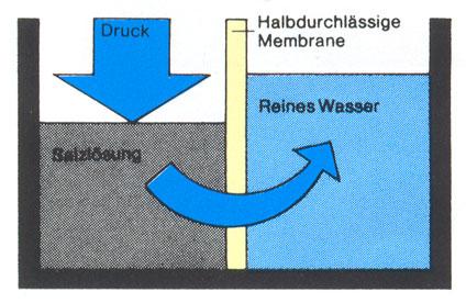 Funktionsweise der natürlichen- Osmose, zum Wasserfilter, Wasseraubereitung,Trinkwasseraufbereitung