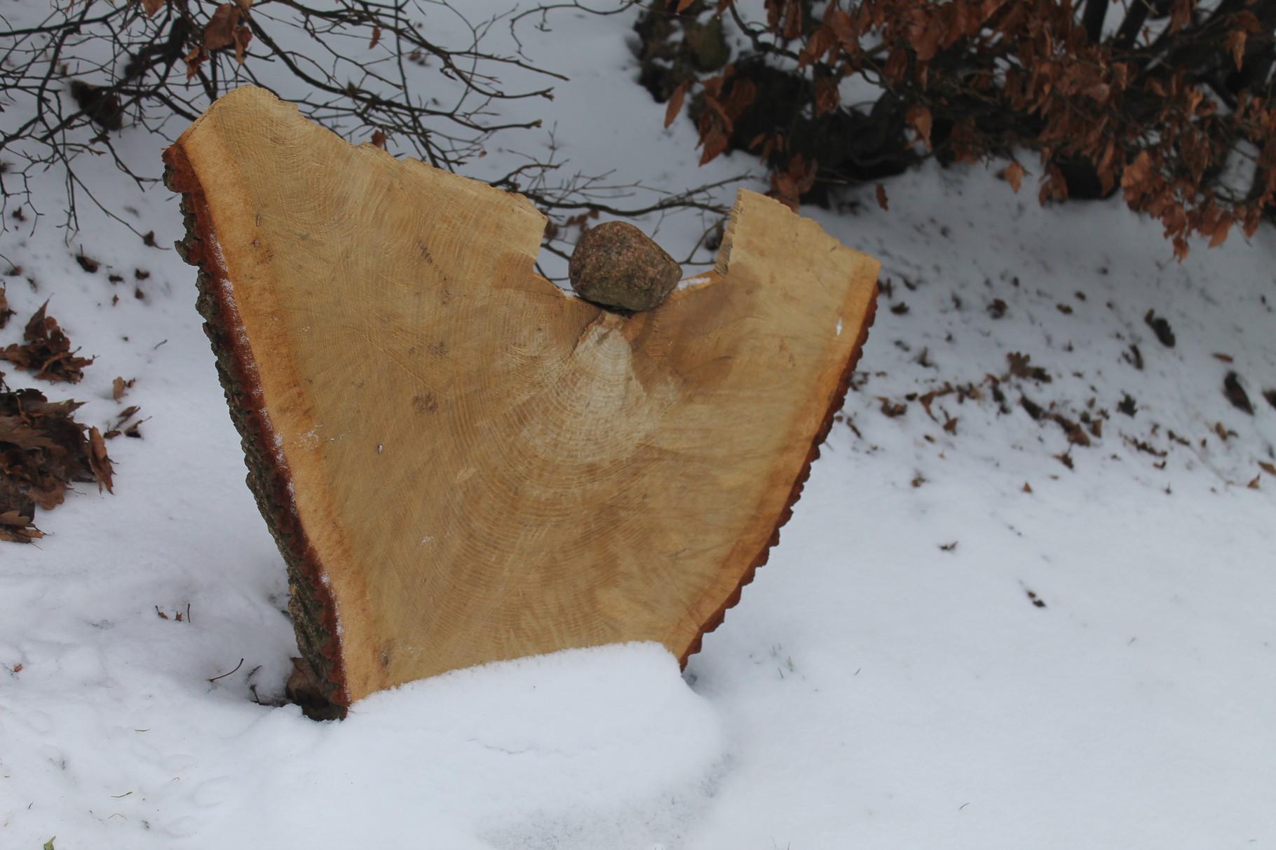 Baumscheibe als Holzengel