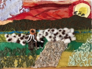 Bild aus Stoffresten und Schafwolle