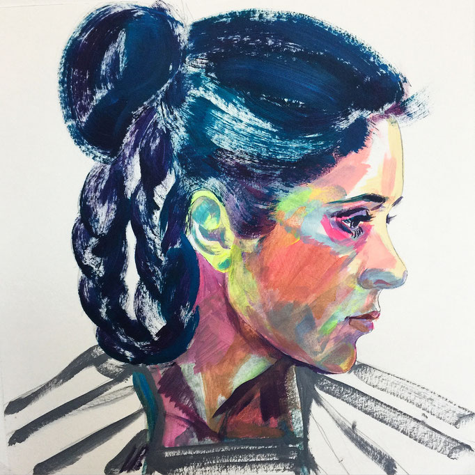 Carrie Fischer as Princess Leia / 40x40cm, acrylic on paper