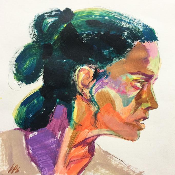 Daisy Ridley as Rey / 40x40cm, acrylic on paper
