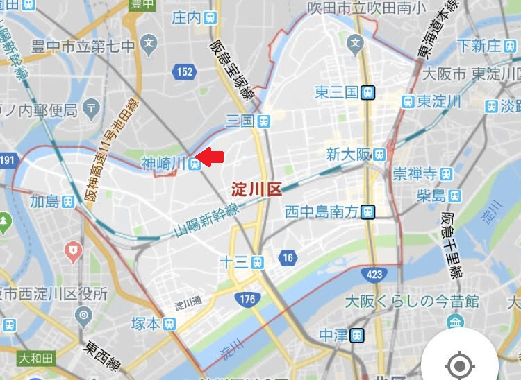 街頭宣伝した阪急神崎川は、豊中市と淀川区の市境界にある駅(北側入り口が豊中市、南側が淀川区)