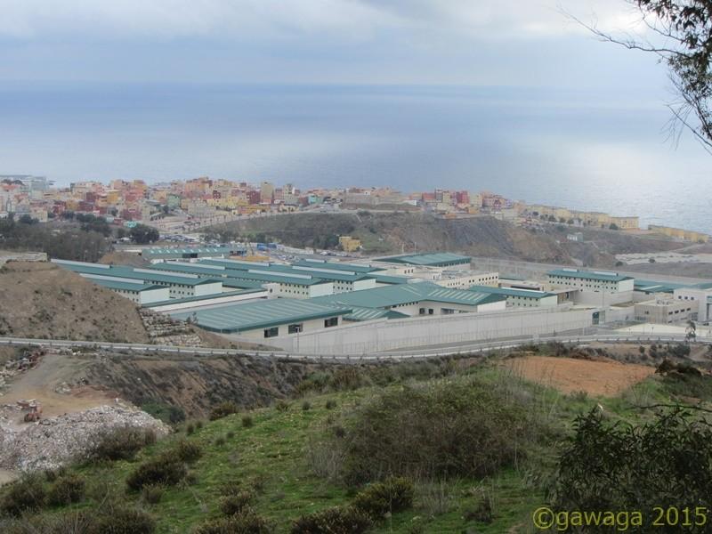 Ceuta von oben, im Vordergrund das Gefängnis
