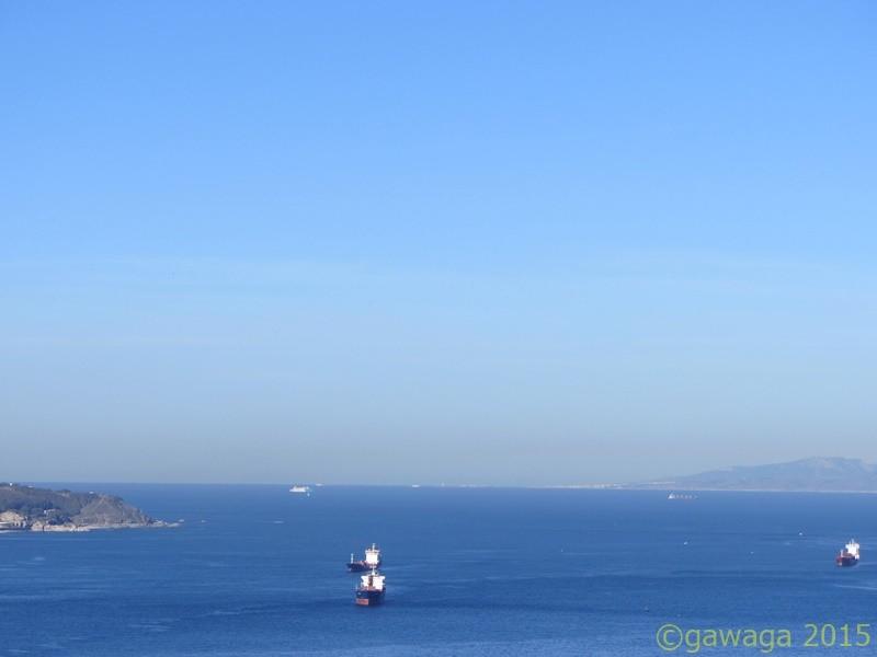 die Meerenge von Gibraltar in Richtung Tarifa, Cadiz