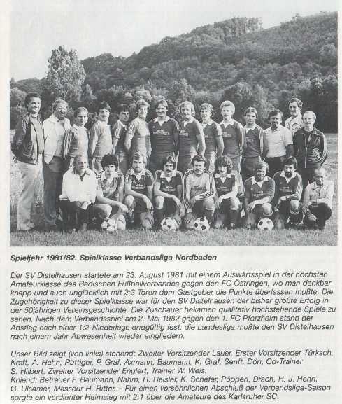 SV Distelhausen, Verbandsliga, 1981, 1982