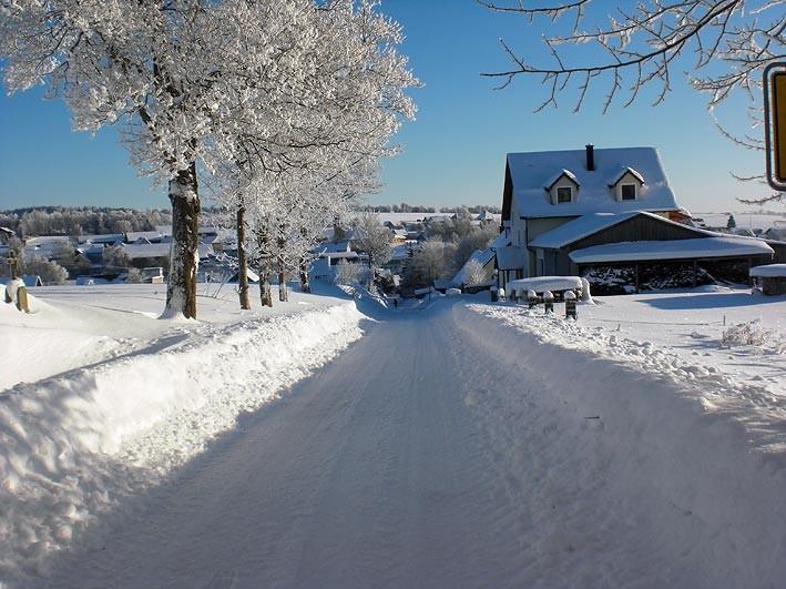 winterliche Strasse in Mähring