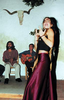 """""""Juerga"""" in einem Innenhof von Vejer im Oktober 2000"""
