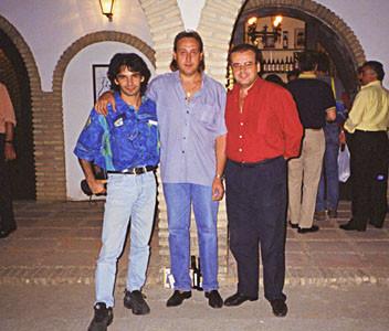 vlnr.: Bino Dola, Manuel Silveria, El Macareno auf dem Flamenco Festival in Montilla (Córdoba) im August 1998