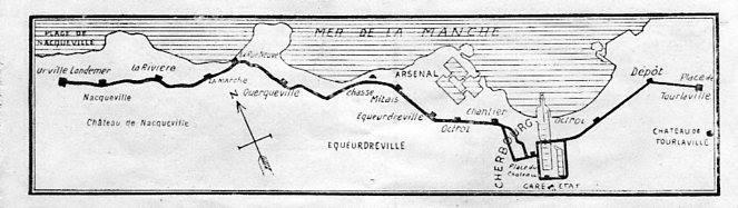 Vue du réseau de tramway du Nord-Cotentin