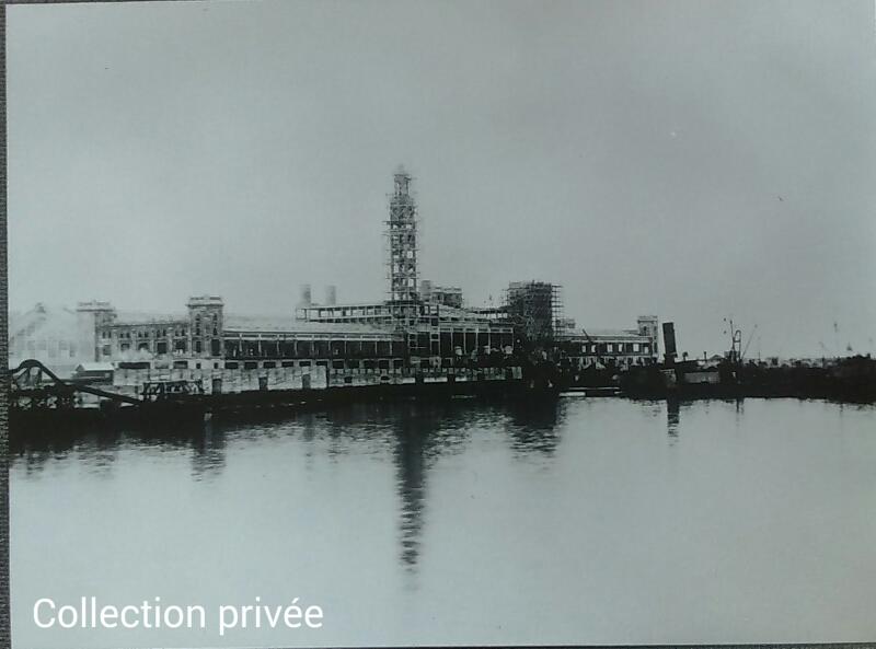 Collection privée - construction de la gare maritime de Cherbourg - Collection Berton