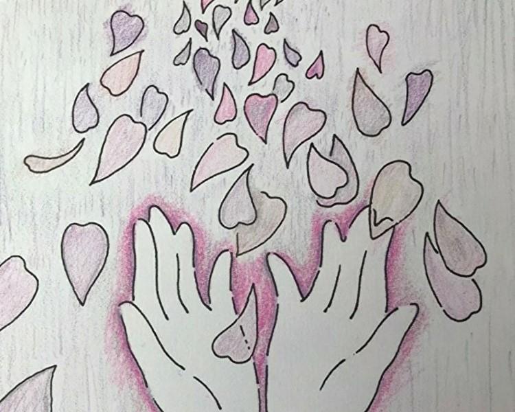 塗り絵アートセラピーお客様の作品~薄紫の花びら