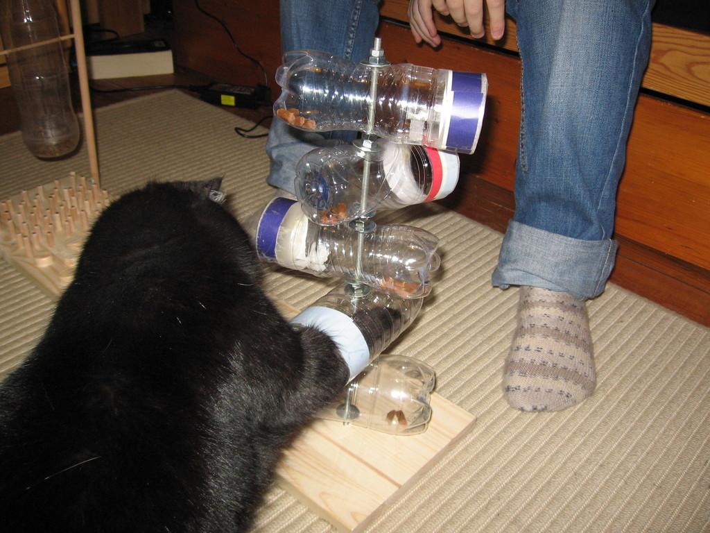 Findus ist weggegangen, Maruschka hat die Drehflaschen für sich allein.