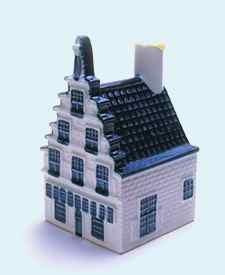 KLM miniatura número 29, Leiden, Korte Galgewater Stadstimmerwerf, Ciudad muelle de madera, construida en 1612.