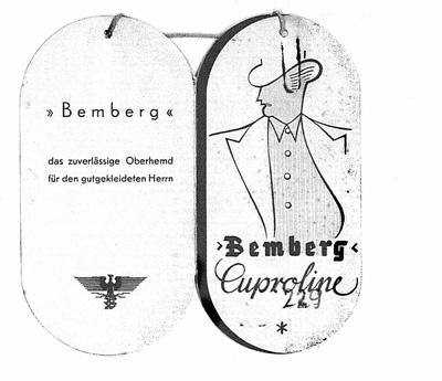 Bemberg Stoff-Anhänger für Kupferseide, außen, 1939. Bundesachiv