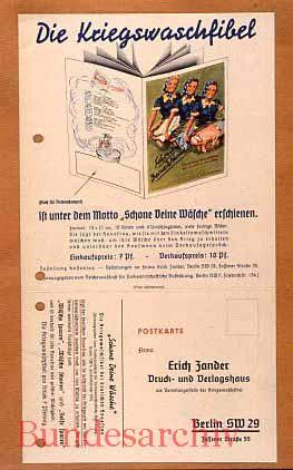 Bestellkarte für die Waschfibel, 1941. BArch R5002/27.