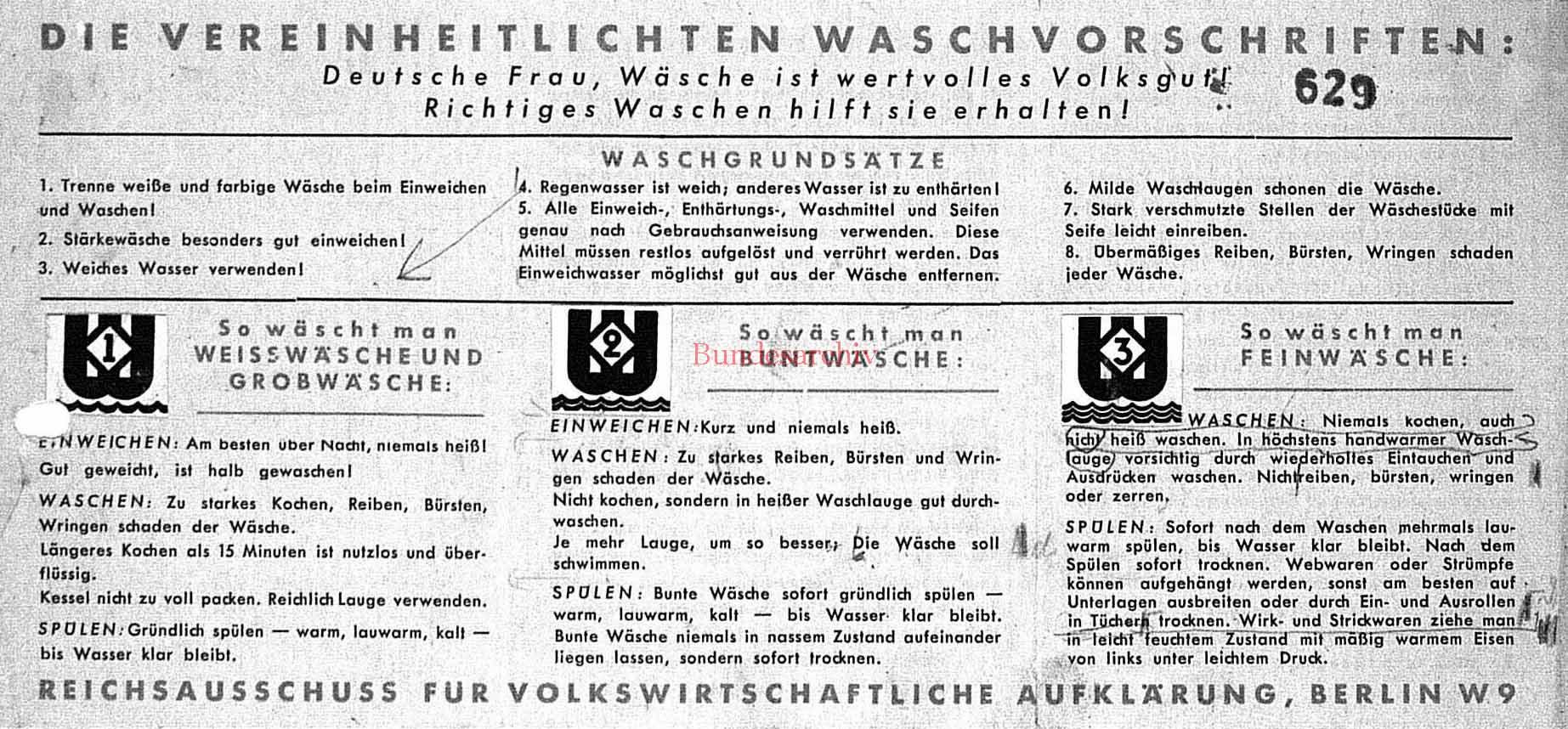 Vereinheitlichte Waschvorschriften, Faltblatt, Sommer 1939. Bundesarchiv