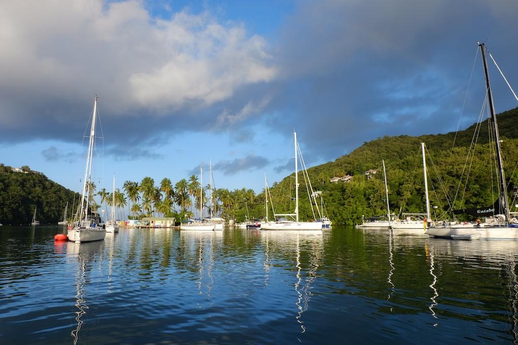 Blick auf die schmale Ausfahrt der Bucht (links neben den Palmen)