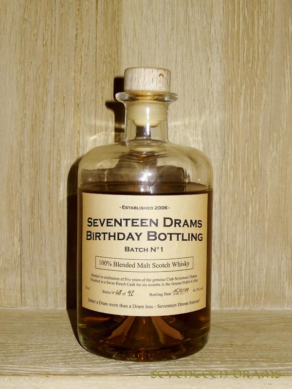 Seventeen Drams Birthday Bottling, 100 % blended Malt Scotch Whisky, Batch No. 1, 41.1 v%,  finished for 6 months in Swiss Kirsch cask, bottled 15.04.11, LE  68 / 92 bottles - 12.00 - no comments