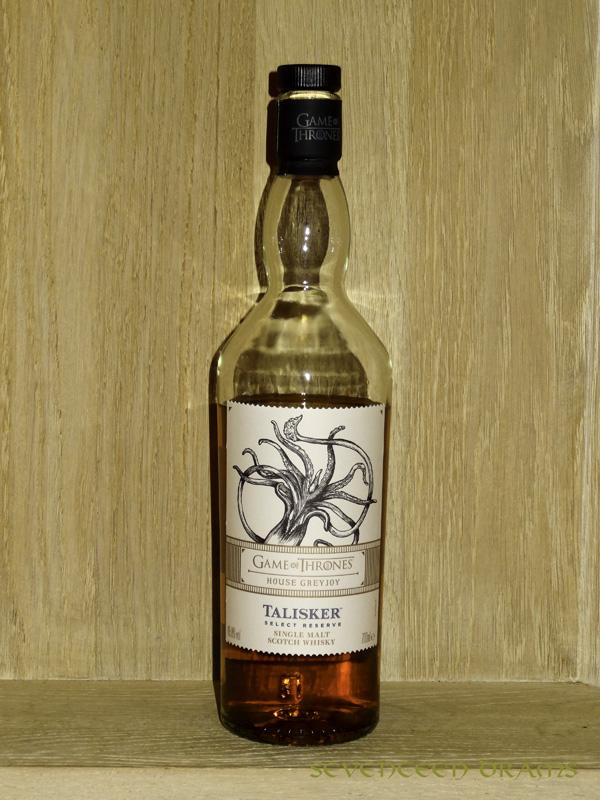 "Talisker ""Select Reserve"", 45,8 v%, Game of Thrones House of Greyjoy bottling - OB - 13.00 - typischer Talisker-Pfeffer, kombiniert mit dunkler Schokolade, sehr schön!"